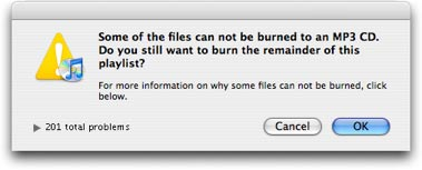 Can't Burn iTunes Store Songs