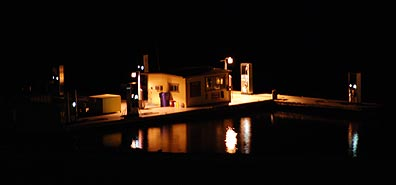 Boat Fueling Station at Night