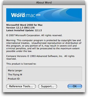 Word 2008 Splash Screen