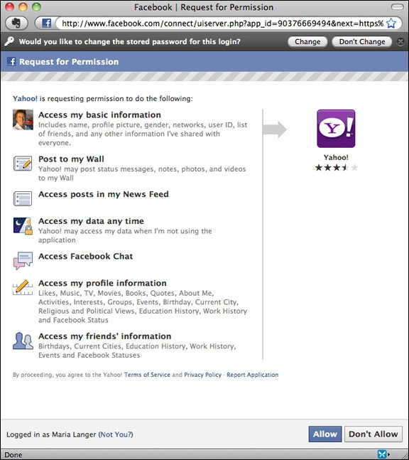 Yahoo Permissions for Facebook