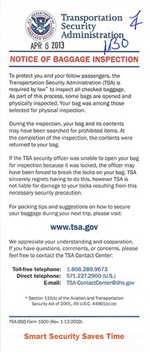 TSA Inspection Note