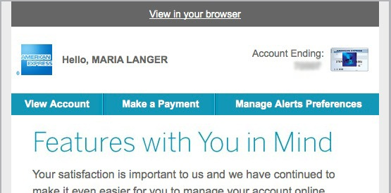 American Express Legit message
