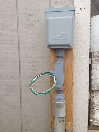 Construction wiring the shed an eclectic mind How to install exterior electrical outlet