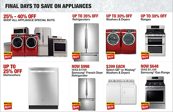 Home Depot Appliance Sale