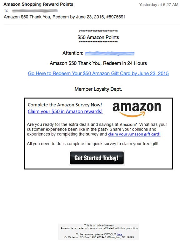 Amazon Reward Points Scam