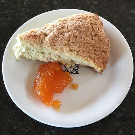 one of the scones I made yesterday, served up with some apricot ...