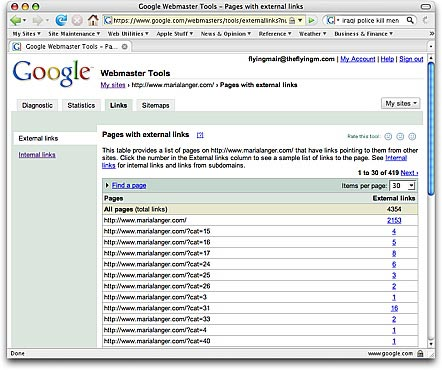 External Links listed in Webmaster Tools