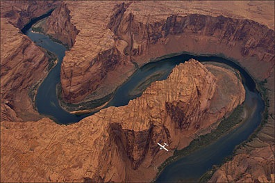 Airplane over Horseshoe Bend