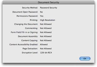 Security Settings for PDF