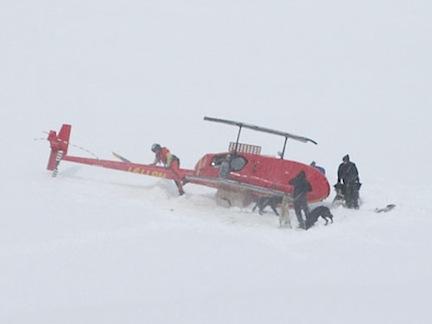 Glacier Crash with Dogs