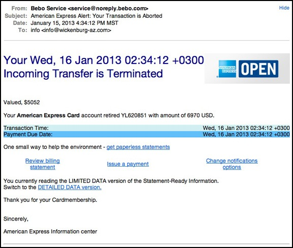 Eclectic Scam Message Mind An Transfer Express American Email