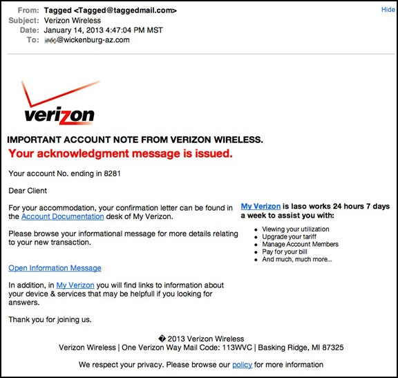 verizon acknowledgement message scam an eclectic mind. Black Bedroom Furniture Sets. Home Design Ideas
