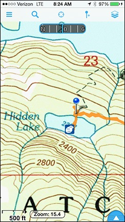 Gaia GPS Hidden Lake