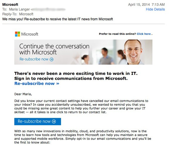 Email from Microsoft