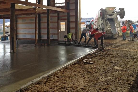 Pouring Concrete around the Drain