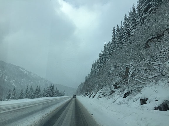 Snow on Highway 2