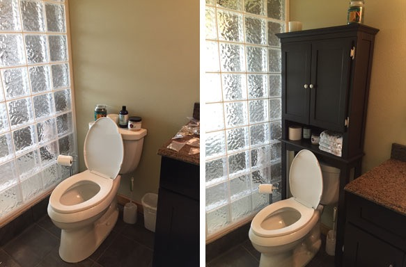 Nice Before and After Toilet Storage