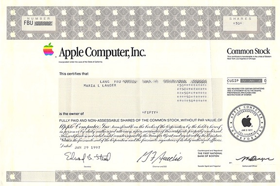 Apple Stock Certificate
