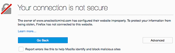 Page is Not Secure