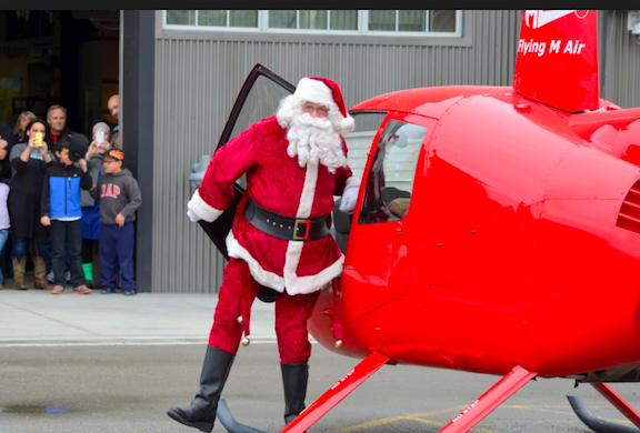 Santa's Arrival by Helicopter at Pybus