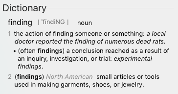 Dictionary Definition of Findings