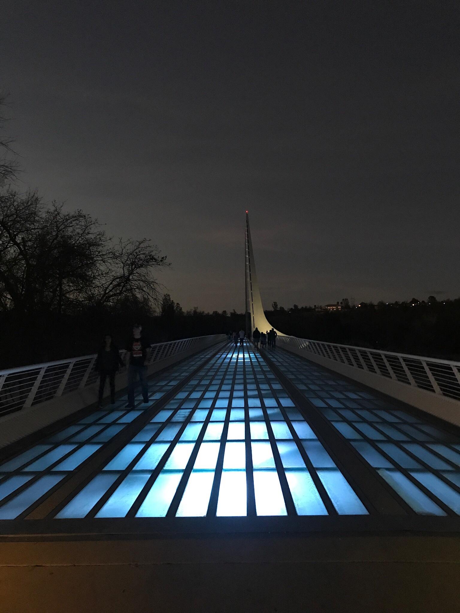 Sundial Bridge deck at night.