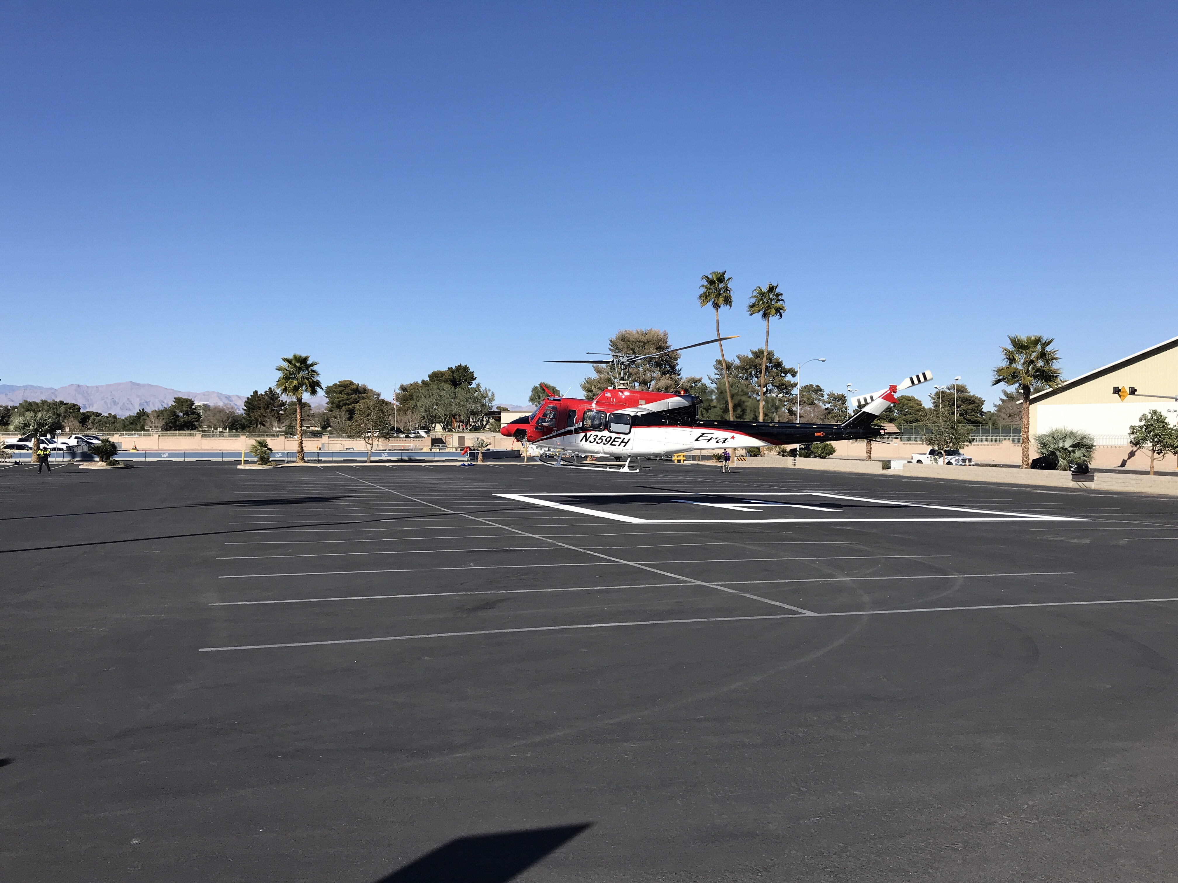 Helicopter landing at Heli Expo 2018 in Las Vegas.